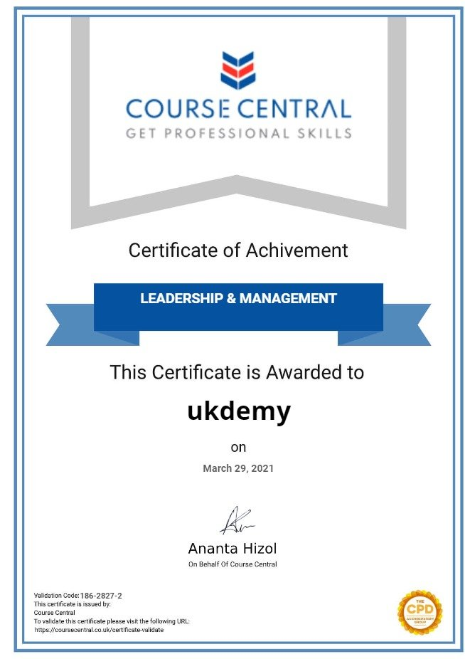 Certificate for User ukdemy
